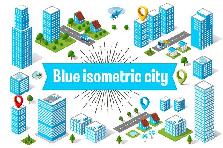 Blauer Stadtwolkenkratzer vektor