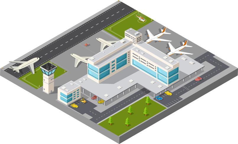 Isometrische Stadtflughafen vektor