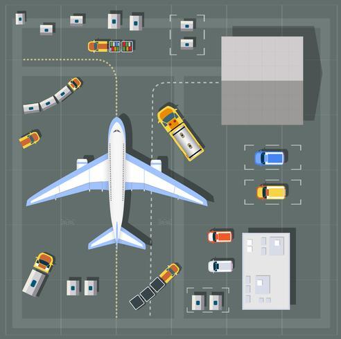 Obenliegende Sicht Flughafen vektor