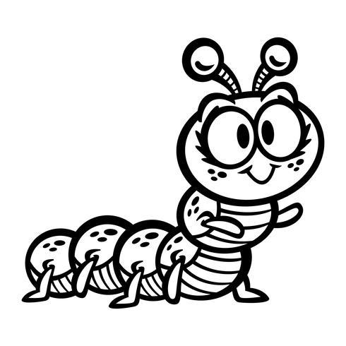 söt crawling caterpillar bug cartoon vektor