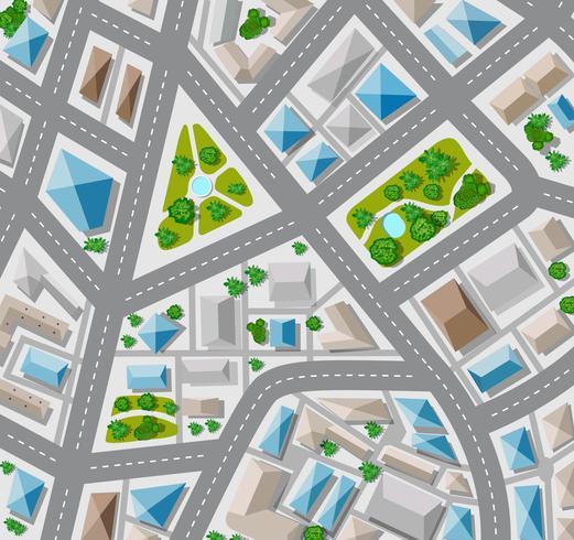 Draufsicht für die Großstadt mit Straße planen vektor