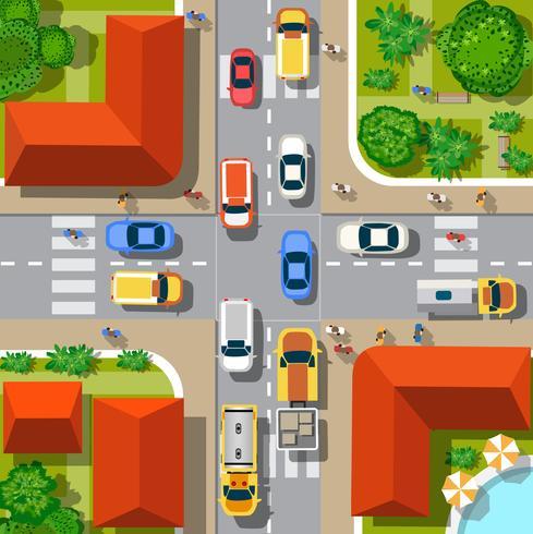 Draufsicht auf die Stadt vektor