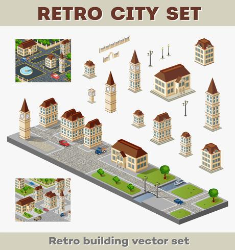 retro byggnader vektor