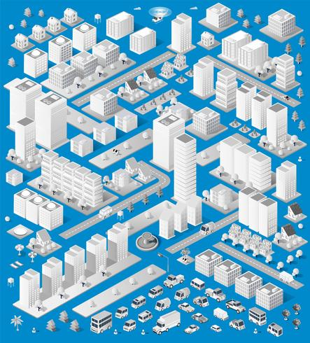 Eine große Anzahl von isometrischen städtischen vektor