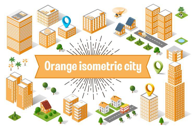 Orange Stadtwolkenkratzer vektor