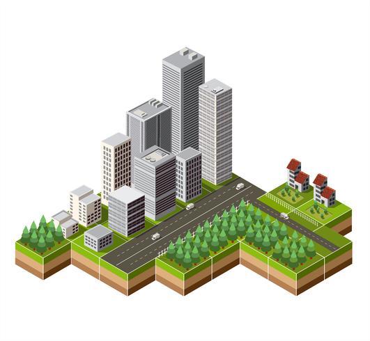 Isometrische Innenstadt vektor