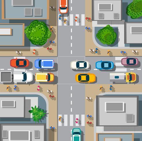 Städtische Kreuzung mit Autos vektor