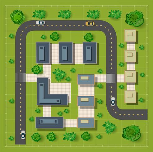Karta över en topp utsikt från hustaken vektor