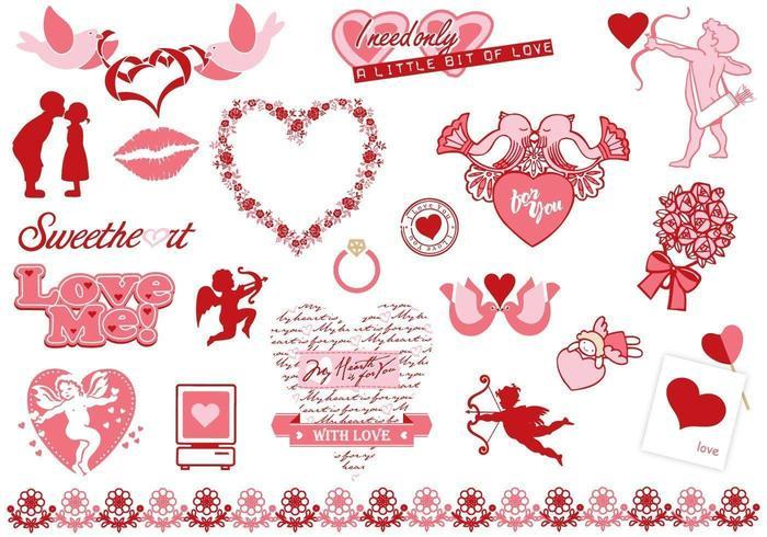 Valentinsdag Vector Elements Pack