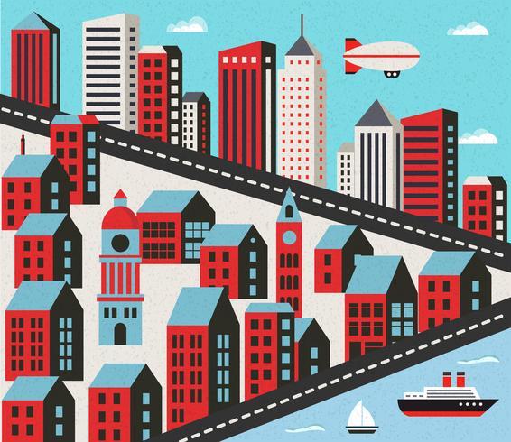 Platt stad med hus vektor