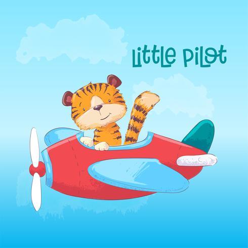 Abbildung eines netten Tigers auf einem Flugzeug. Hand zeichnen vektor