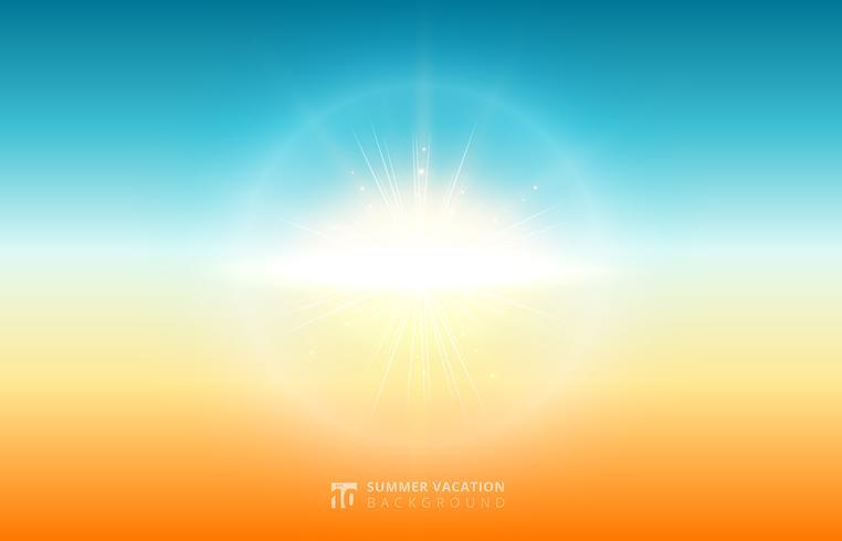 Abstrakt natur suddig himmel bakgrund sommar solljus med flare sol. vektor