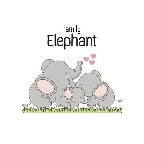 Elefantenfamilie Vater Mutter und Baby. Vektor-illustration vektor