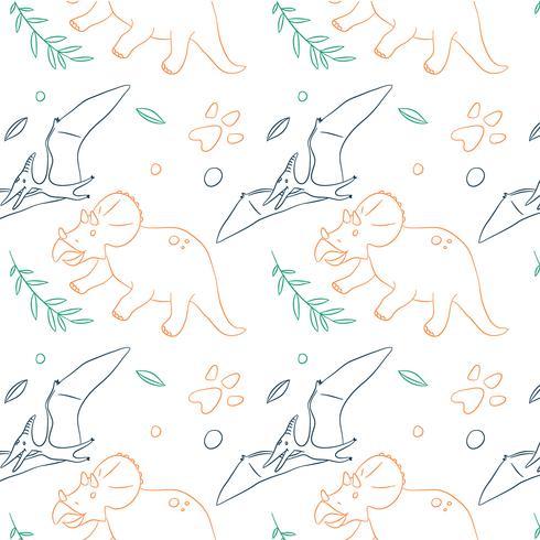 Hand gezeichnetes Dinosaurier-Muster vektor