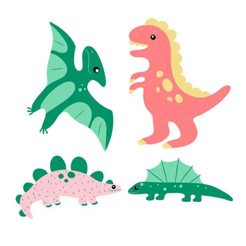 Netter Hand gezeichneter Dinosaurier-Sammlungs-Satz vektor