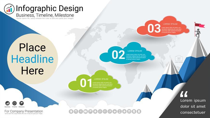 Vorlage für Geschäftsinfografiken, Meilenstein-Zeitachse oder Roadmap mit Optionen für Prozessablaufdiagramm 3. vektor