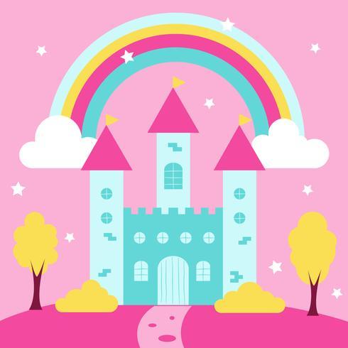 Nette Prinzessin Castle Mit Regenbogen Und Landschaft vektor