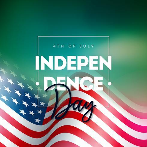 4. Juli Unabhängigkeitstag der USA-Vektor-Illustration mit Buchstabe der amerikanischen Flagge und der Typografie auf glänzendem Hintergrund. 4. Juli Nationales Festdesign vektor