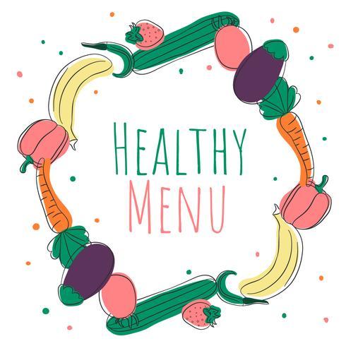 Netter Gekritzel-gesunder Lebensmittel-Hintergrund vektor