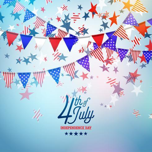 4. Juli Unabhängigkeitstag der USA-Vektor-Illustration. Unabhängigkeitstag-amerikanisches nationales Feier-Design mit Flagge und Sternen auf blauem und weißem Konfetti-Hintergrund vektor