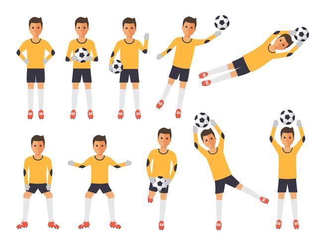 Fotbollsspelare, fotbollsmålvakt i handlingar. vektor