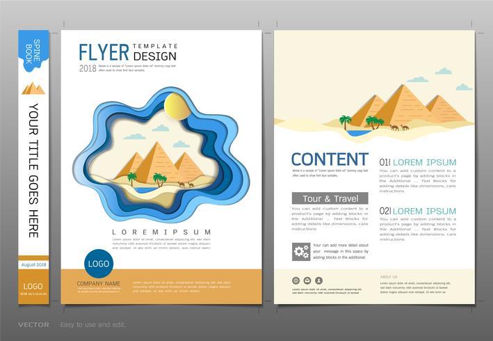 Abdeckungsbuchdesign-Schablonenvektor, Reise- und Tourismuskonzept. vektor