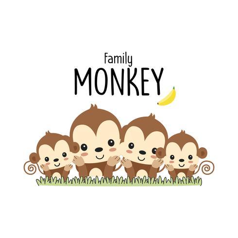 Affenfamilie Vater Mutter und Baby. Vektor-illustration vektor