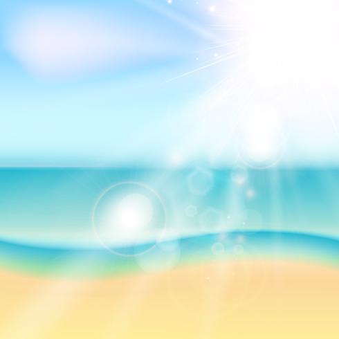 Sommerstrand und tropisches Meer mit Sonnenlicht. vektor
