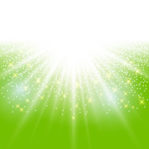 Sonnenlichteffektschein auf grünem Hintergrund mit Funkelnkopienraum. vektor