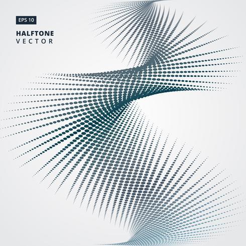 Abstrakte gewundene Halbtonpunktform. Vektor-Illustration Hintergrund. für Druck, Zeitschrift, Broschüre, Flugblatt vektor