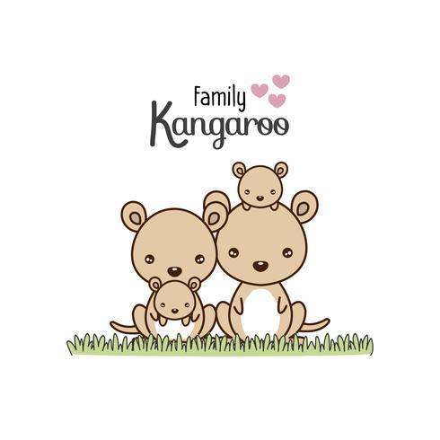 Kangarofamiljfadern mor och nyfödd baby. vektor