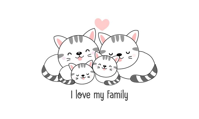 """Söt lycklig kattfamilj säger """"Jag älskar min familj"""". vektor"""