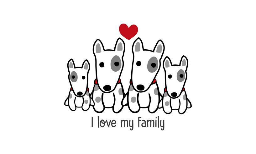 """Söt lycklig hundfamilj säger """"Jag älskar min familj"""". vektor"""