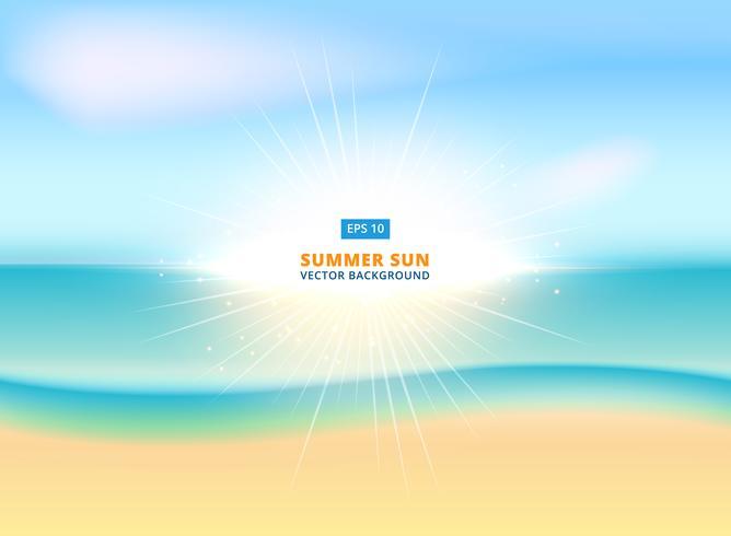 Sonniger funkelnder Hintergrund mit sandigem Strand und Ozean, Vektor