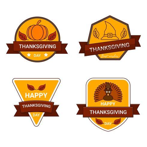 Thanksgiving Dekoration Schriftzug Einladung Abzeichen Design. Fröhliche Thanksgiving Party. vektor