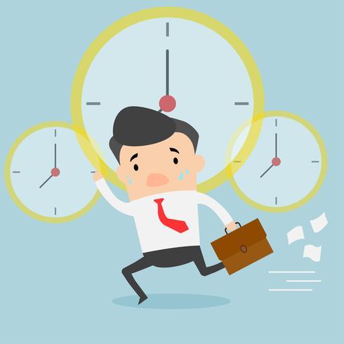 Geschäftsmann, der Dokumententasche laufen lässt und hält. Uhr fährt Geschäftsmann zur Arbeit, Frist, spät. vektor