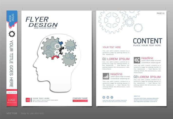 Omfattar bokdesignmallvektor, Konstruktionskoncept. vektor