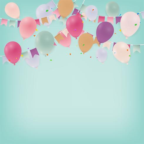 Årsdag eller grattis på födelsedagskort fest bakgrund med ballonger. Illustration. vektor