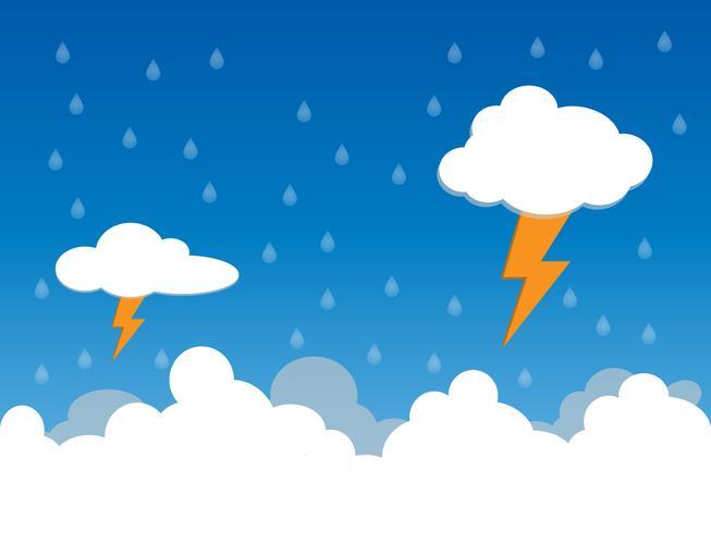 Regnig dag, regn och ljussättning i clound, vektor illustration.
