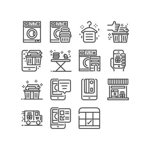 Tvättservice, Tunna linjepictogram som anges för mobilapp och webbapplikation. Pixel Perfect. vektor