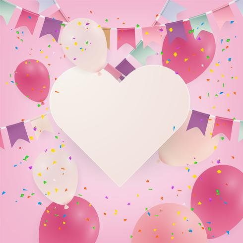 Jahrestag oder alles Gute zum Geburtstagkarten-Feierhintergrund mit Ballonen. Illustration. vektor