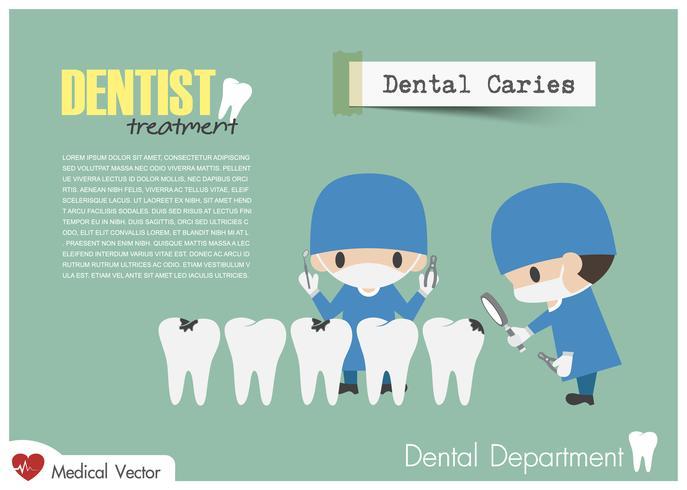 Zahnarzt überprüfen Sie Ihre Zähne und suchen Sie nach Zahnkaries. Vektor. Flaches Design . vektor