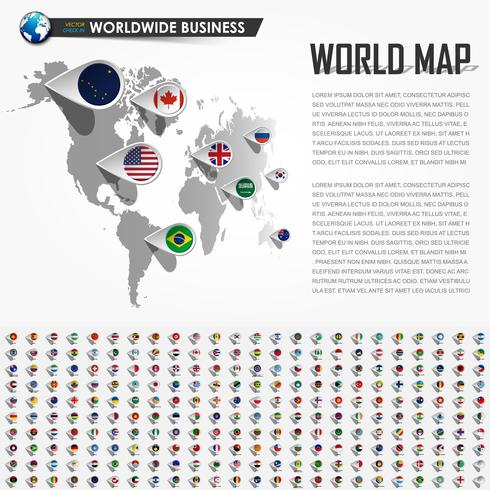Perspektivenweltkarte und GPS-Navigatorstandortstift mit allen nationalen Landesflaggenelementen der Erde. Vektor. vektor