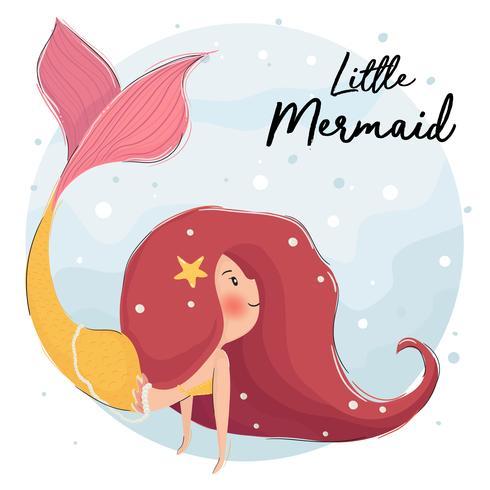 sött rött hår sjöjungfru under havet vektor