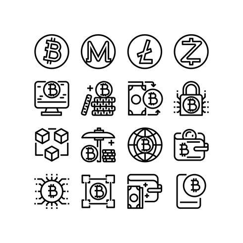 Cryptocurrency, Tunna linjeikoner som är inställda för mobilapp och webbapplikation. Pixel Perfect. vektor