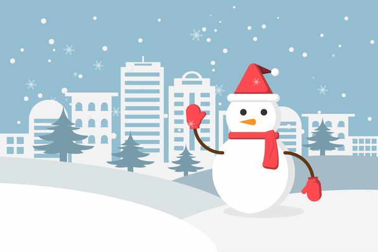 Vinter snö och snögubbe i urban landsbygd med stadsby. Gott nytt år och god jul. vektor