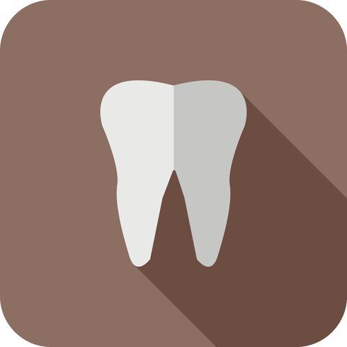 tand platt lång skugg ikon vektor