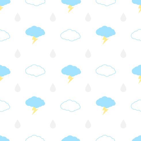Seamless mönster med moln, bult och regn på en vit bakgrund. Vektor upprepande textur.