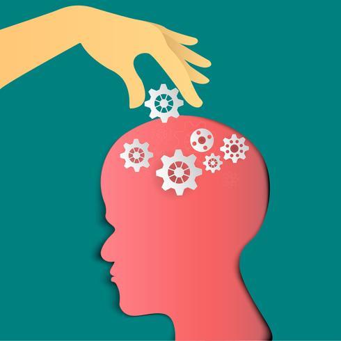 Människans huvud med kugghjul. Huvudtänkande. papperskonst och hantverksstil. vektor