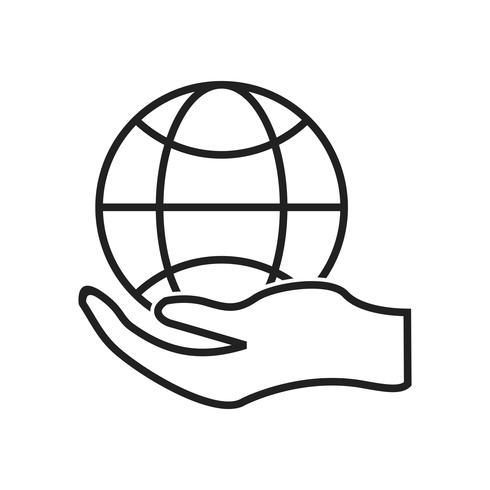 Globale Hand Linie schwarze Ikone vektor